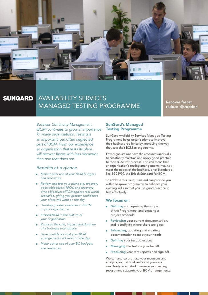 AVAILABILITY SERVICES                                                                    Recover faster, MAnAGEd TESTInG P...