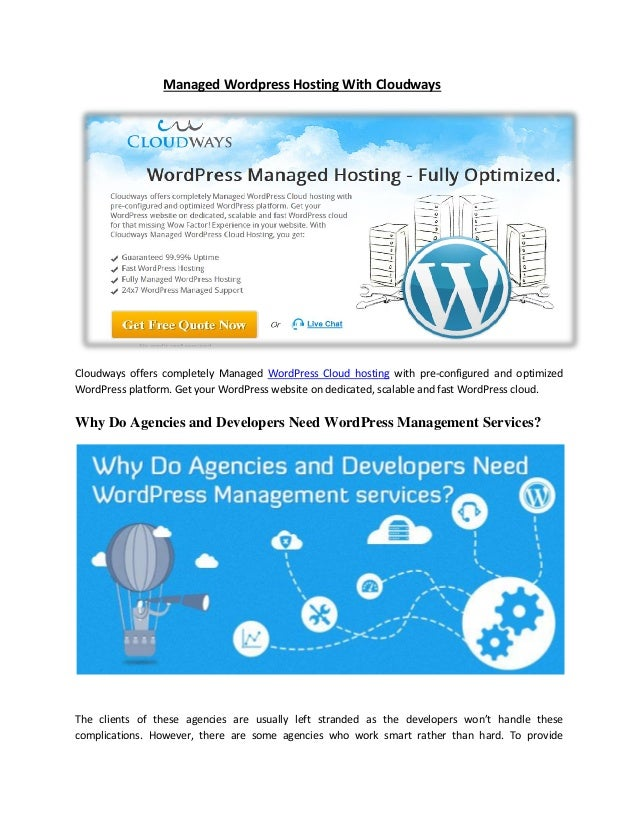 Managed Wordpress Hosting With Cloudways Cloudways offers completely Managed WordPress Cloud hosting with pre-configured a...