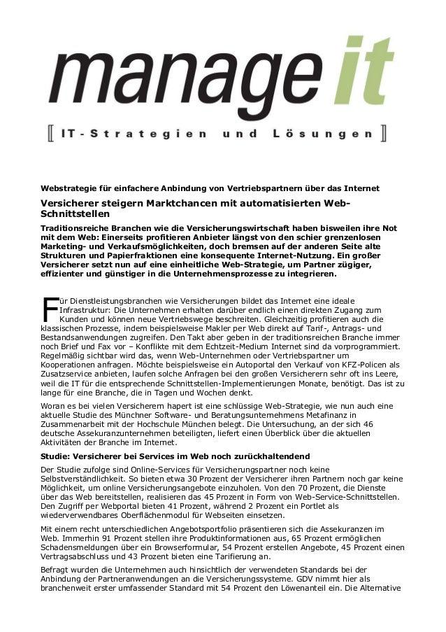 Webstrategie für einfachere Anbindung von Vertriebspartnern über das InternetVersicherer steigern Marktchancen mit automat...