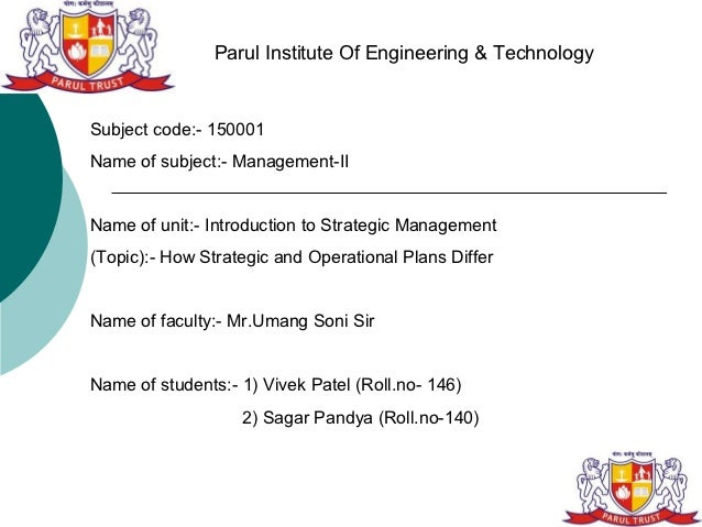 Parul Institute Of Engineering & TechnologySubject code:- 150001Name of subject:- Management-IIName of unit:- Introduction...