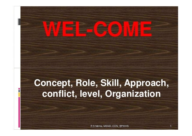 WEL-COME1R S Mehta, MSND, CON, BPKIHSConcept, Role, Skill, Approach,conflict, level, Organization