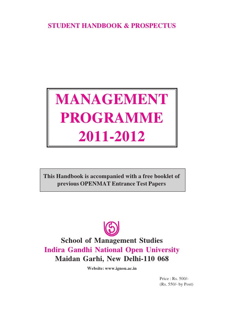 STUDENT HANDBOOK & PROSPECTUS    MANAGEMENT    PROGRAMME      2011-2012This Handbook is accompanied with a free booklet of...