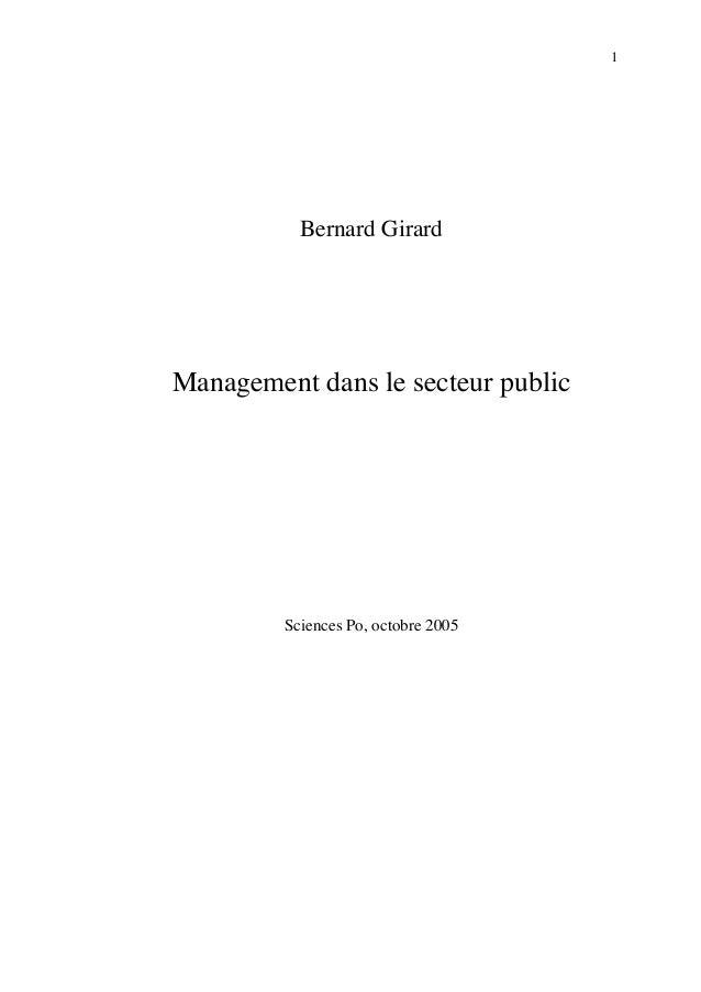1           Bernard GirardManagement dans le secteur public         Sciences Po, octobre 2005