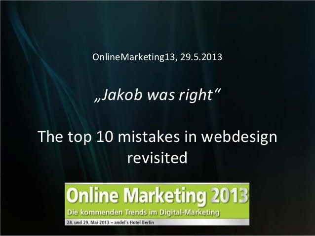 """""""Jakob was right"""" von Frank Puscher auf dem Online Marketing Kongress 2013"""