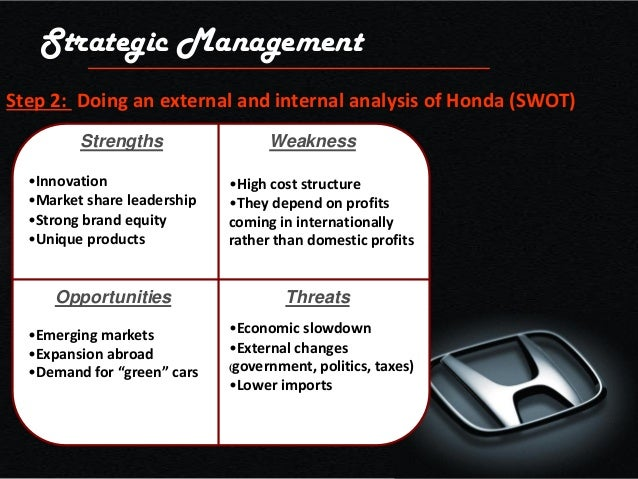 honda city car swot analysis Honda motors marketing strategy: an analysis  some of its car models like the  honda city have been a huge hit with the asian customers.