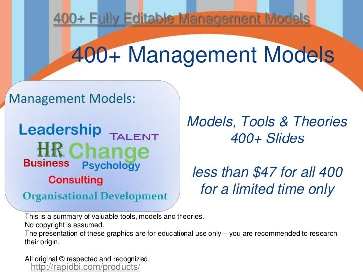 400+ Management models - theories, tools and ebook