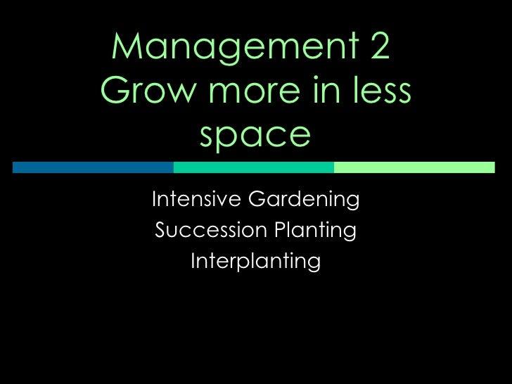 Management   succession, interplanting