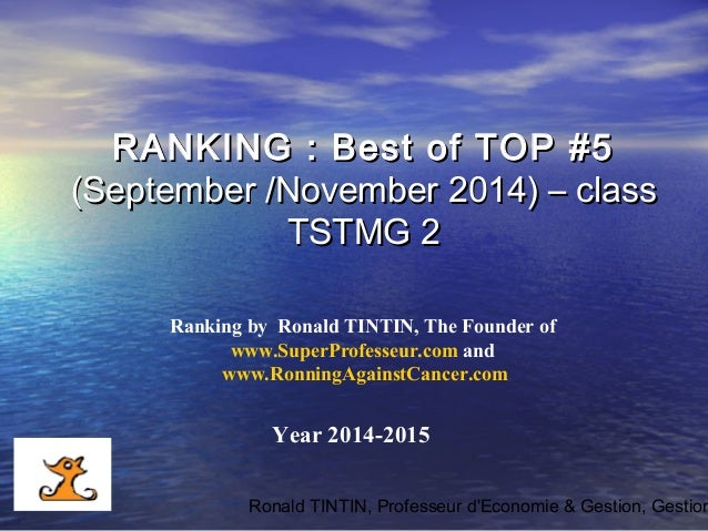 Management - Ranking of best top 5 september & november 2014 by www.superprofesseur.com and www.RonningAgainstCancer.com