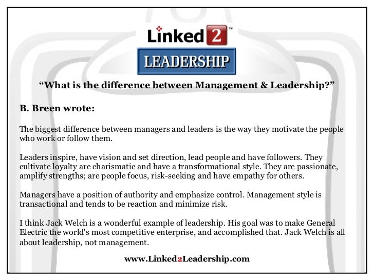 management versus leadership essay Read this essay on leadership vs management come browse our large digital warehouse of free sample essays get the knowledge you need in order to pass your classes and more.