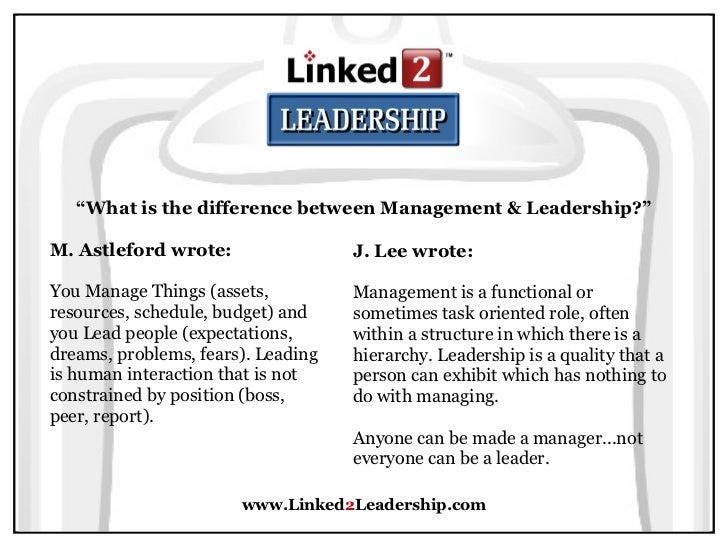 leadership and management the differences and overlap The biggest most fundamental overlap between leadership and management - there are many individual points - is that good leadership always includes responsibility for managinglots of the managing duties may be delegated through others, but the leader is responsible for ensuring there is appropriate and effective management for the.