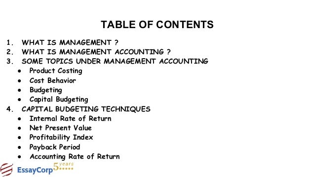 Assignment management accounting