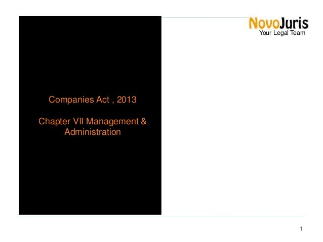 Your Legal Team  Companies Act , 2013 Chapter VII Management & Administration  1