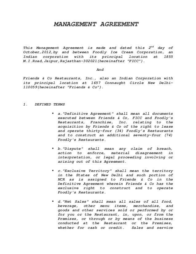 Management agreement sample