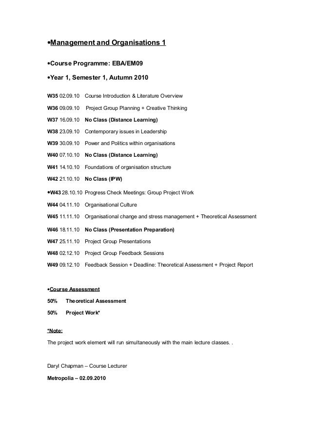 •Management and Organisations 1•Course Programme: EBA/EM09•Year 1, Semester 1, Autumn 2010W35 02.09.10 Course Introduction...
