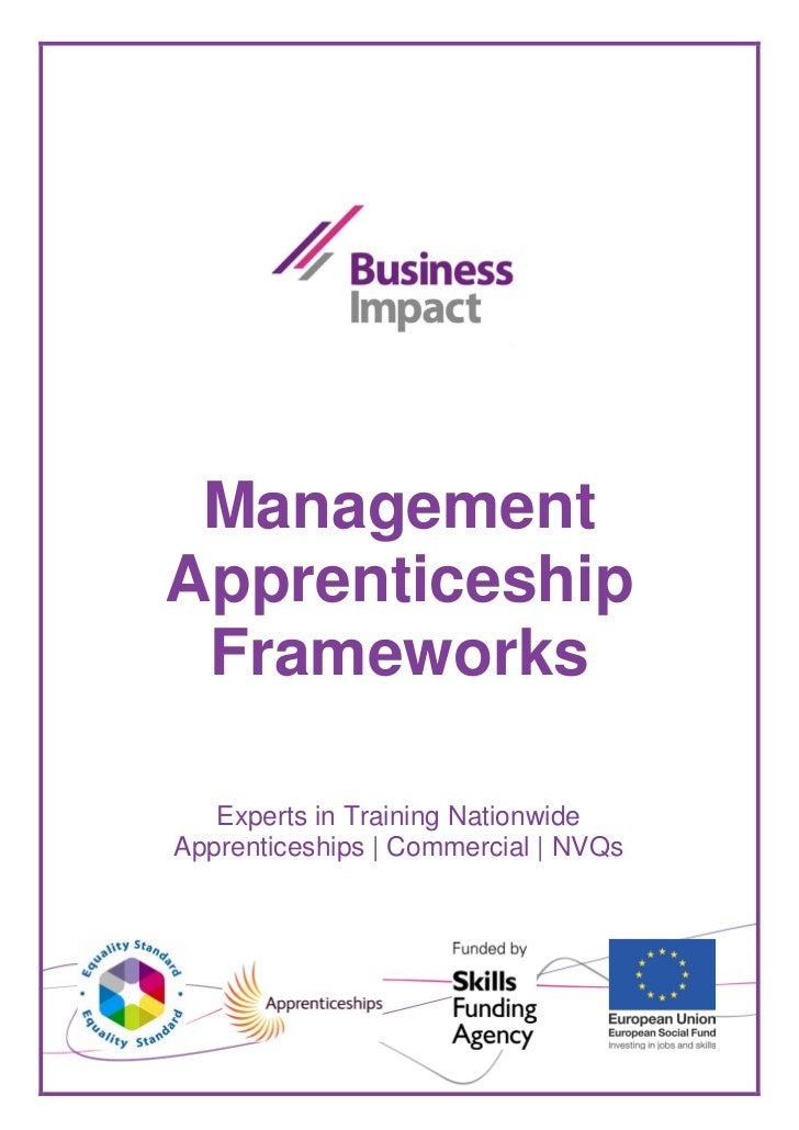 Management Apprenticeship Frameworks