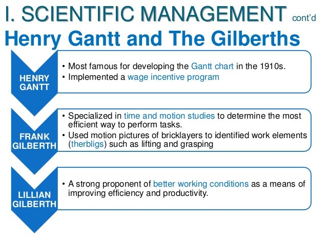 henry gantt scientific management Other contributions to the scientific management school came from henry gantt (devised the gantt chart of job scheduling against time), frank and lillian gilbreth (gave concept of speed work, motion study, flow process chart.