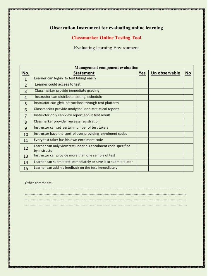 Observation Instrument for evaluating online learning                                Classmarker Online Testing Tool      ...