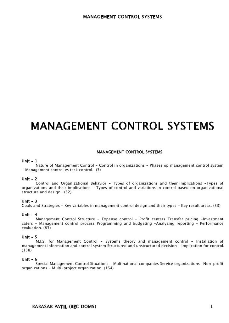 a report on a management control problem Control is a management process to aim at formal reports of performance anticipate the likely problems and to exercise control even before the.