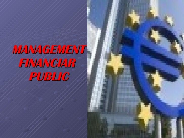 MANAGEMENT FINANCIAR   PUBLIC