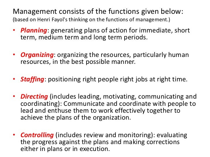 what are henri fayols 5 functions Answer to list and describe the five functions critical to managerial effectiveness according to henri fayol's school of thought.