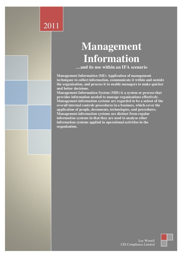 2011                  Management                  Information               …and its use within an IFA scenario   Manageme...