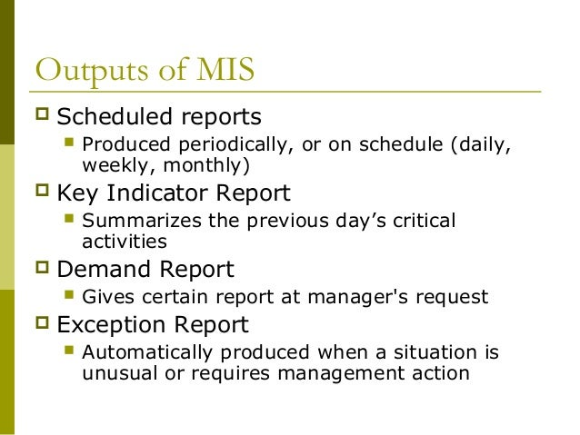 report on mis You can monitor your inventory levels with a management information system by asking the database for reports from chroncom/role-mis-inventory-system.