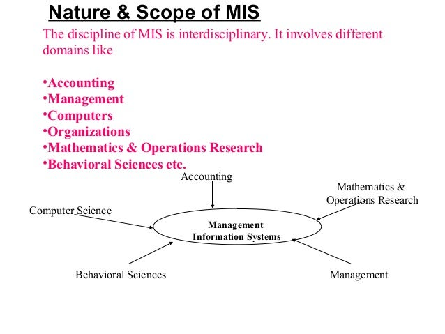 scope of mis Management information system (mis) is providing information that  the  cooperation with other units with the scope of increasing the firm.
