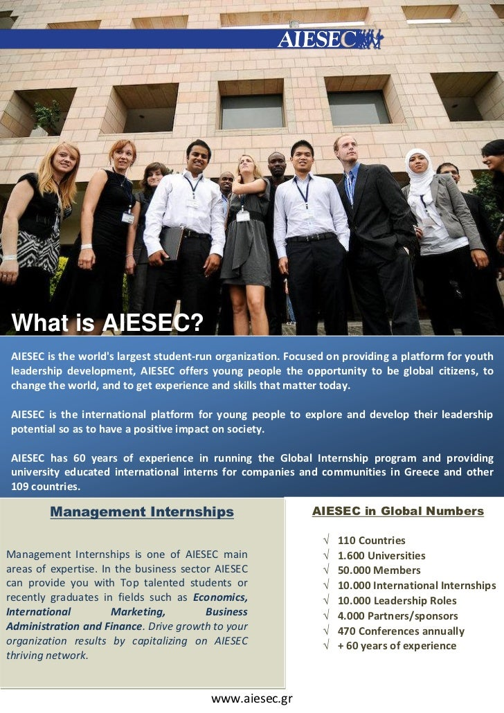 What is AIESEC?AIESEC is the worlds largest student‐run organization. Focused on providing a platform for youthleadership ...