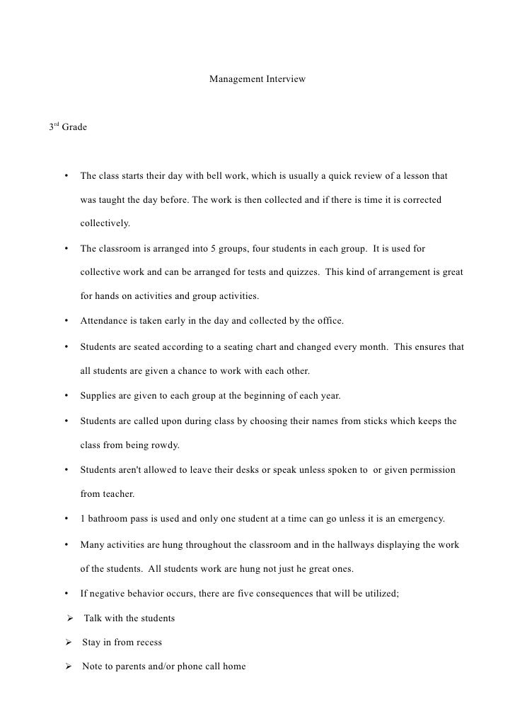 Management Interview    3rd Grade       •   The class starts their day with bell work, which is usually a quick review of ...