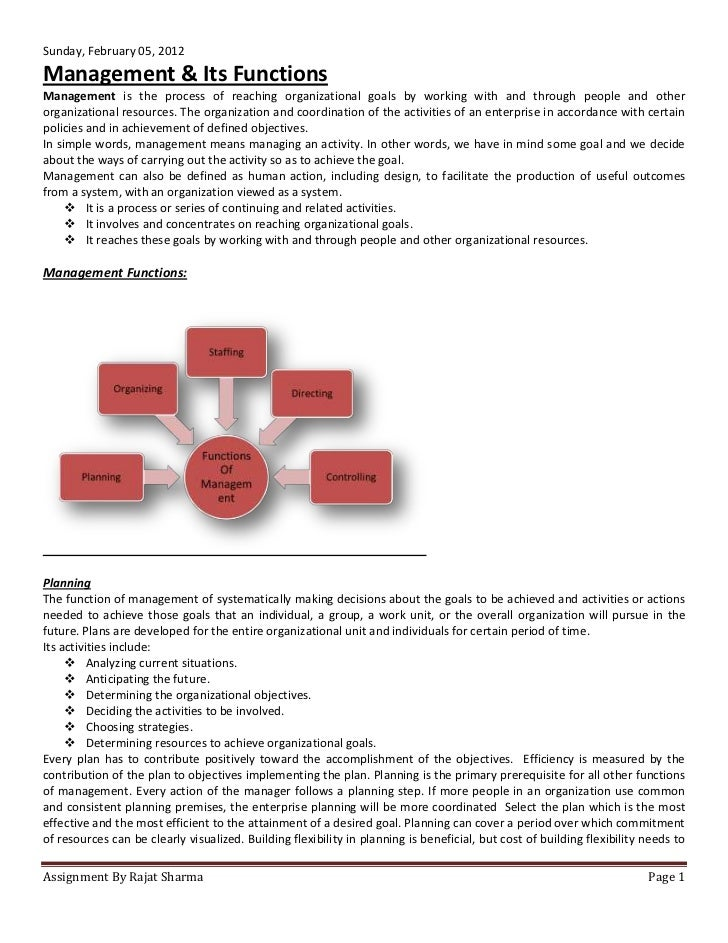 Sunday, February 05, 2012Management & Its FunctionsManagement is the process of reaching organizational goals by working w...