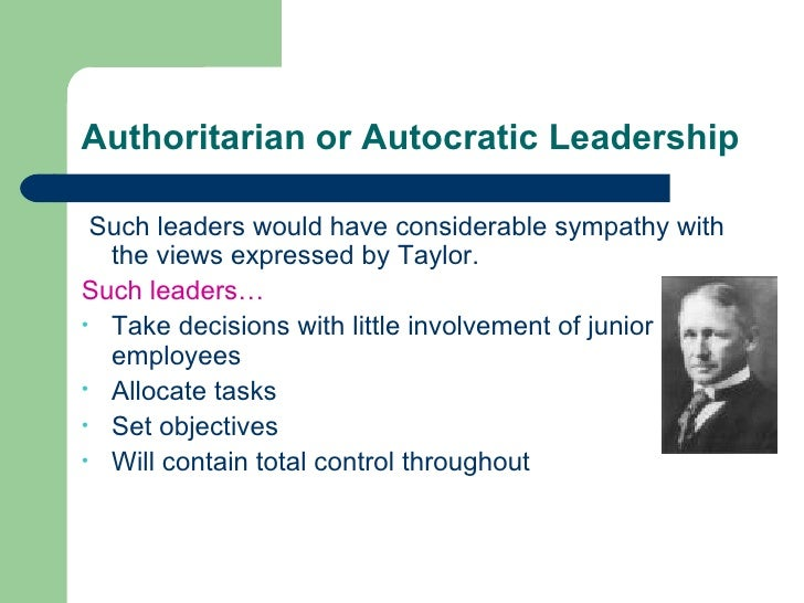 essay on autocratic leadership This current research investigates the impact of autocratic and democratic leadership style on job satisfaction in leadership styles (autocratic and democratic).