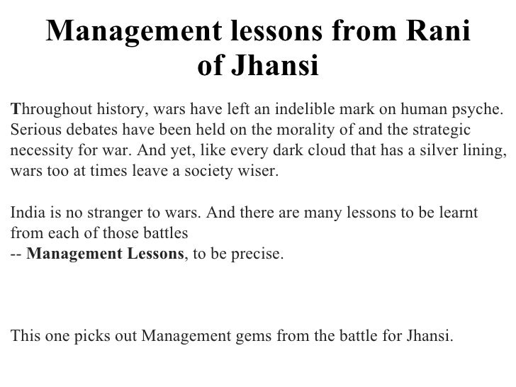 Management lessons from Rani of Jhansi