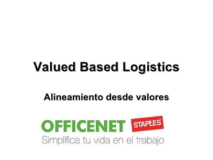 Valued Based Logistics Alineamiento desde valores