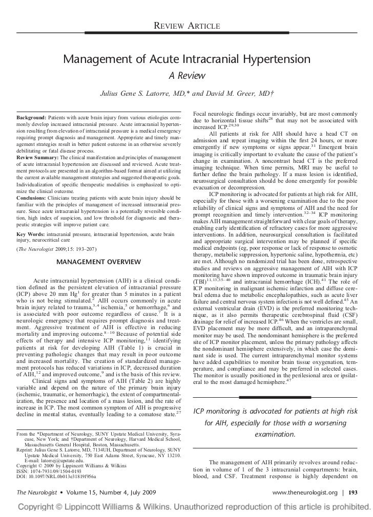 REVIEW ARTICLE                      Management of Acute Intracranial Hypertension                                         ...