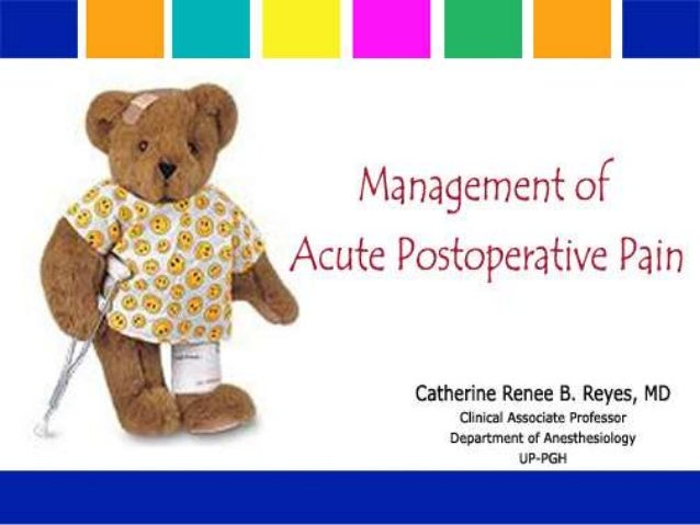 Management of acute postoperative pain r