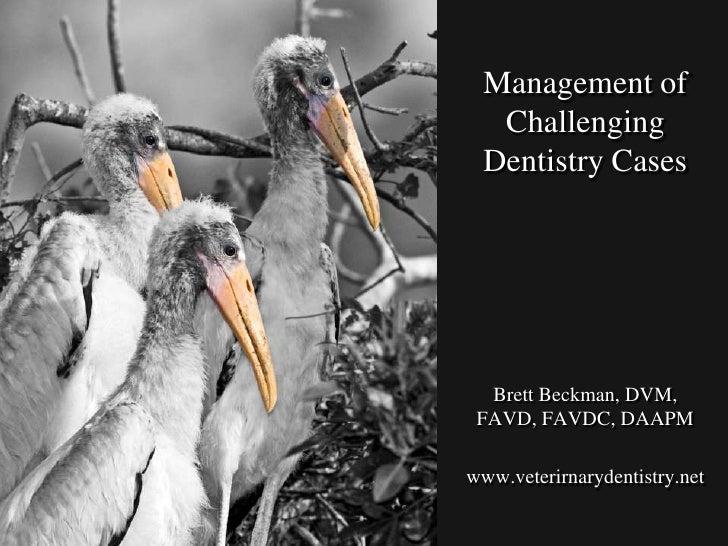 Management of Challenging Dentistry Cases<br />Brett Beckman, DVM, FAVD, FAVDC, DAAPM<br />www.veterirnarydentistry.net<br />
