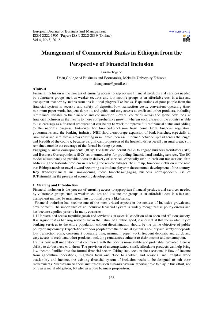 Management of commercial banks in ethiopia from the perspective of financial inclusion