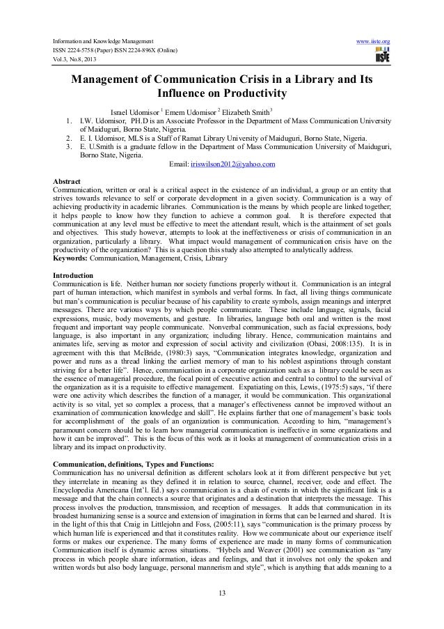 Information and Knowledge Management www.iiste.org ISSN 2224-5758 (Paper) ISSN 2224-896X (Online) Vol.3, No.8, 2013 13 Man...
