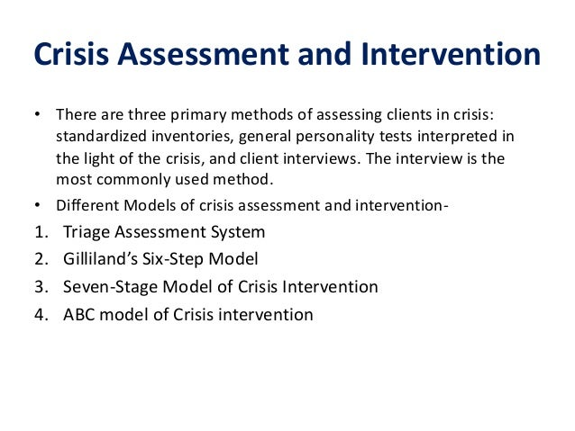 Crisis intervention model