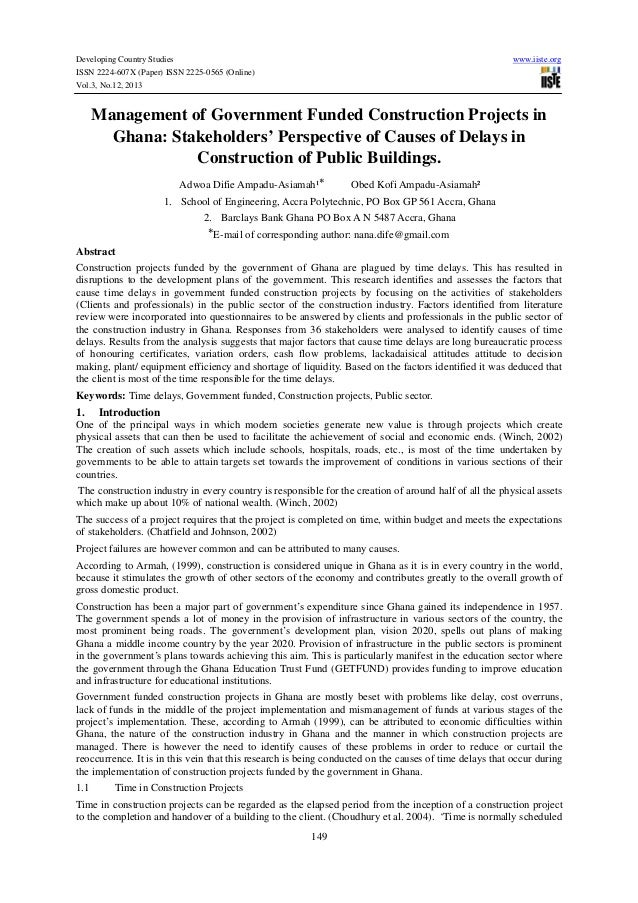 Developing Country Studies ISSN 2224-607X (Paper) ISSN 2225-0565 (Online) Vol.3, No.12, 2013  www.iiste.org  Management of...