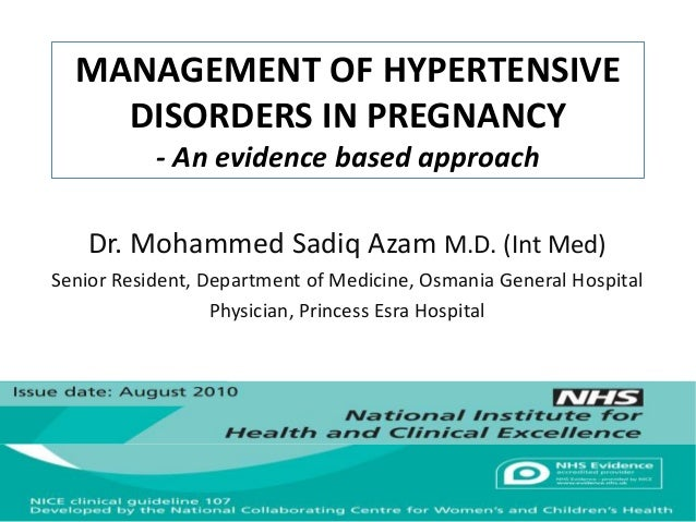 Management of hypertensive disorders in pregnancy