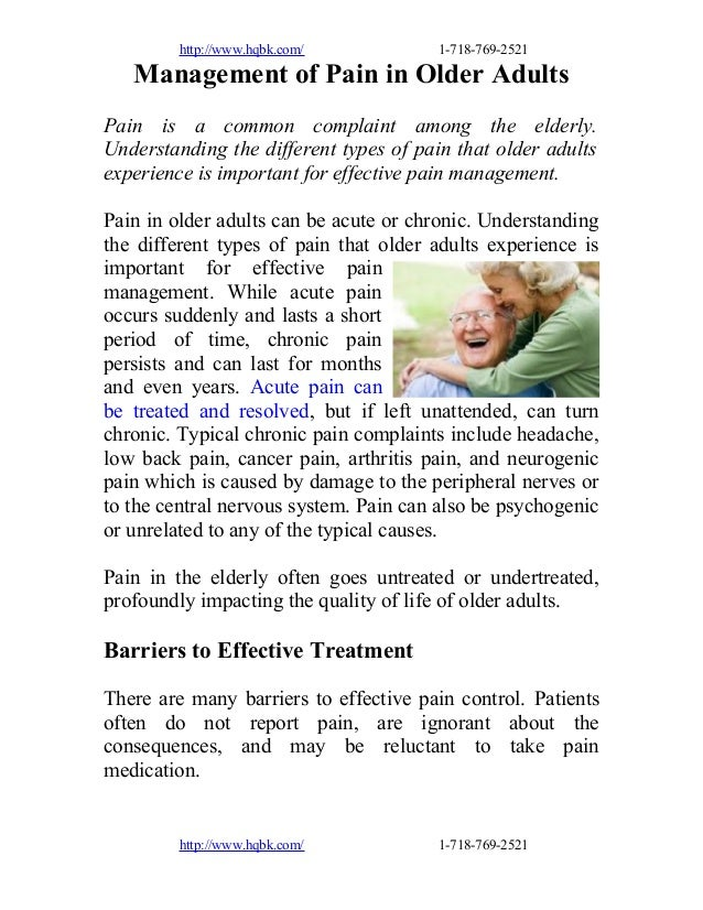 Management of pain in older adults