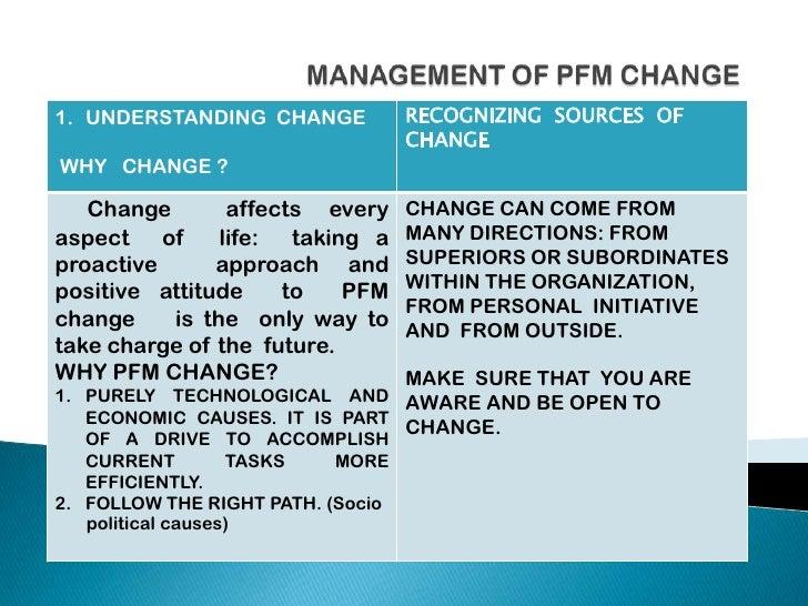 Management of pfm change