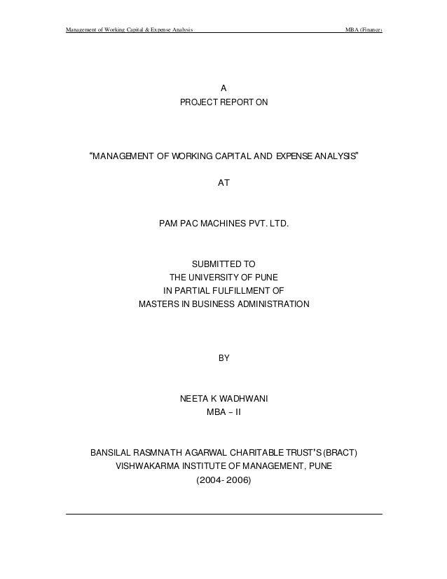 Management of working capital and expense analysis pam pac machines pvt. ltd. by neeta wadhwani finance