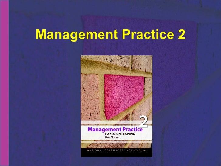 NCV 2 Management Practice Hands-On Support Slide Show - Module  3