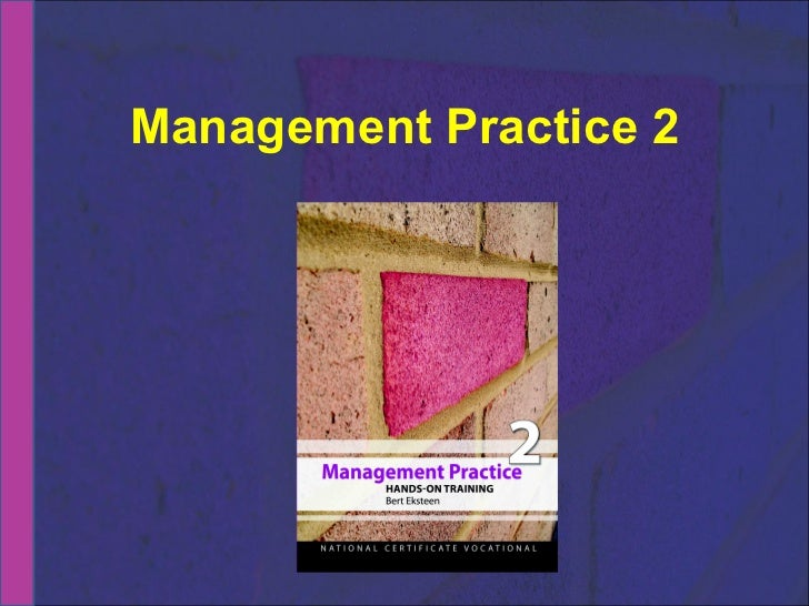 NCV 2 Management Practice Hands-On Support Slide Show - Module  4