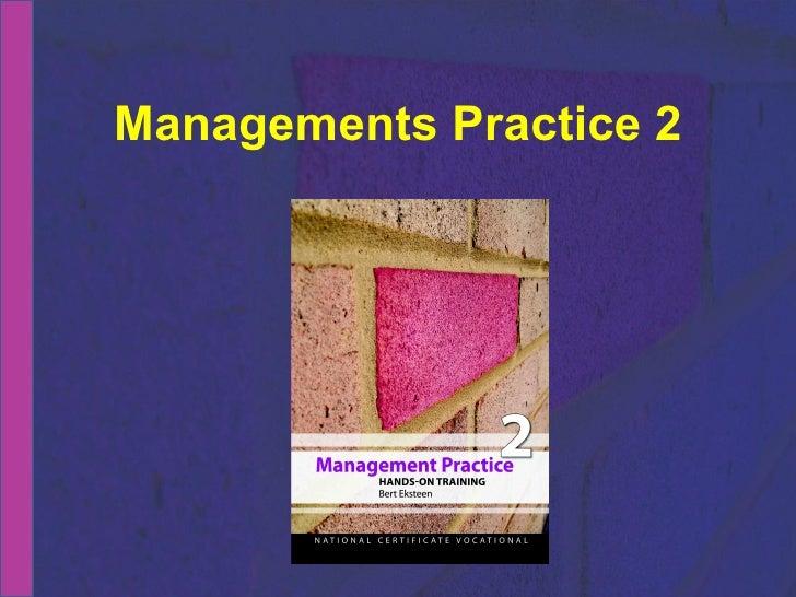 NCV 2 Management Practice Hands-On Support Slide Show - Module 6