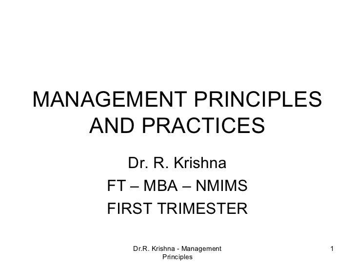 """principles and practices of management What follows is a """"top 10"""" list of guiding principles for change management using these as a systematic, comprehensive framework, executives can understand what to expect, how to manage their own personal change, and how to engage the entire organization in the process."""
