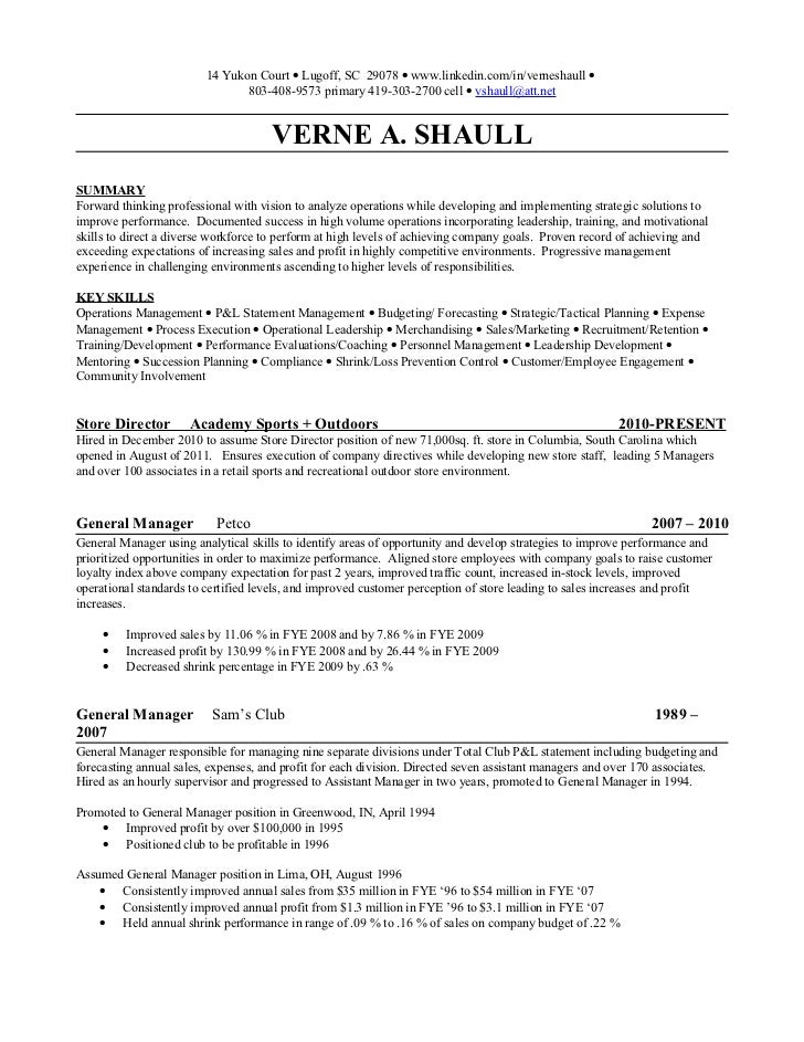 management resume verne shaull