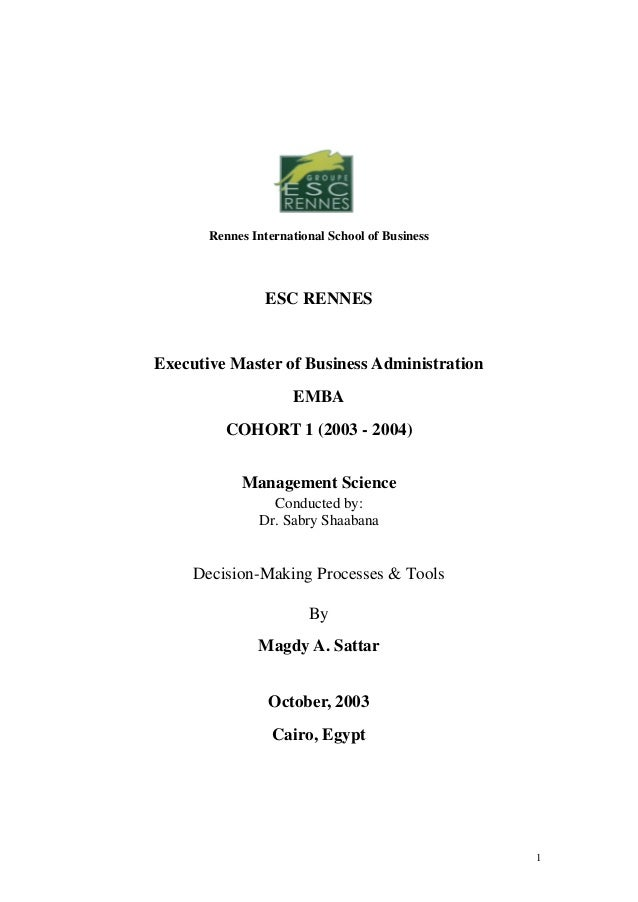 Rennes International School of Business                 ESC RENNESExecutive Master of Business Administration             ...